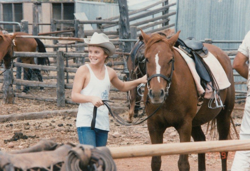 Entertaining the kids in the Flinders Ranges, South Australia. Their first time on horses.