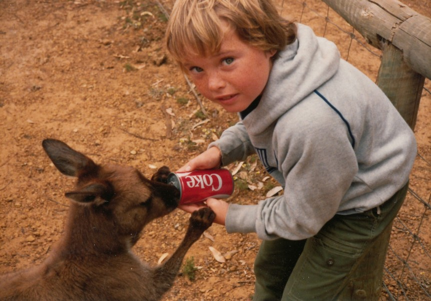 Nick feeding Coke to Kangaroo