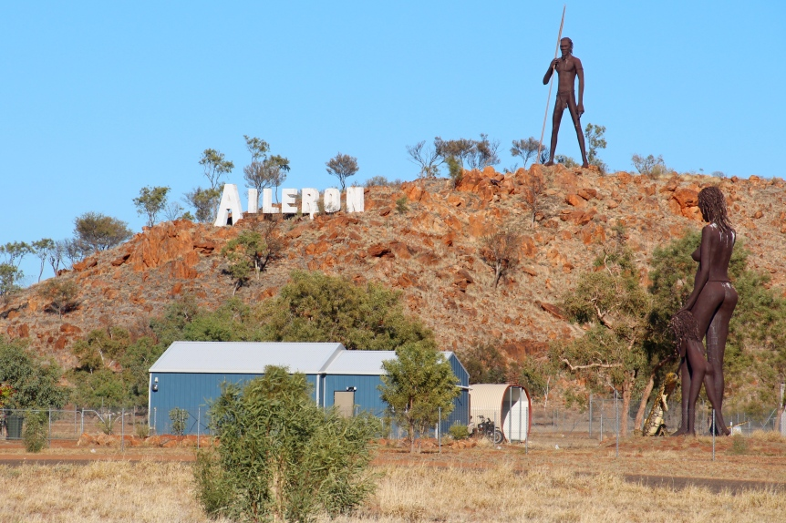 On the Stuart Highway travelling north from Alice Springs. The man stands 17 metres tall (56ft).