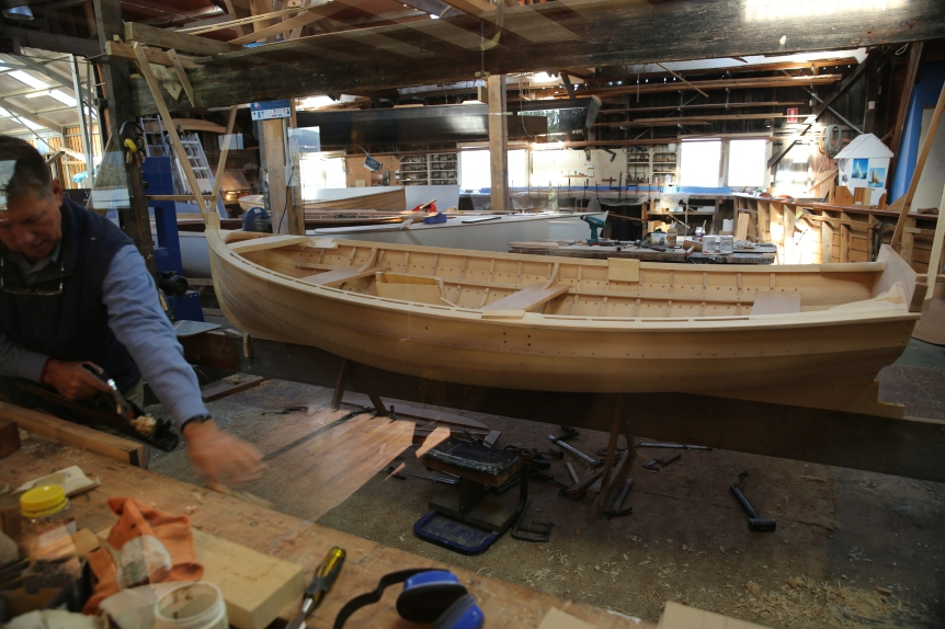 Boat building classes using Huon Pine at Franklin. The use of Huon Pine is strictly controlled but is allowed for heritage purposes such at this.