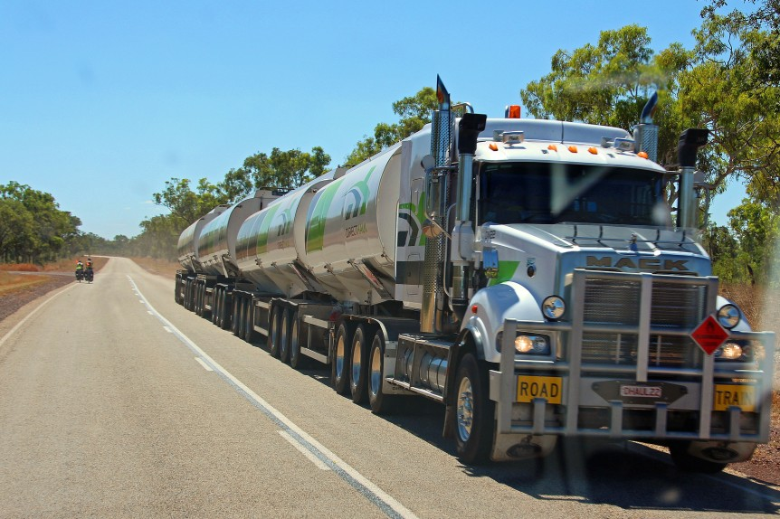 Road Hazards. Road Trains and cyclists, particularly when you meet them at the same time.