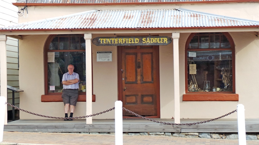 """Tenterfield Saddler. Premises of George Woollnough, grandfather of Peter Allen and subject of Peter Allen's song """"Tenterfield Saddler""""."""