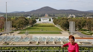 Looking from the rooftop of Parliament House over Old Parliament House to the War Memorial.